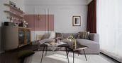 90平米三室一厅法式风格客厅效果图