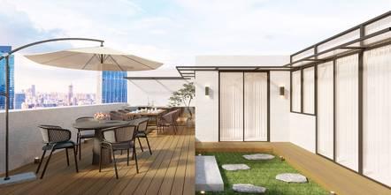 20万以上140平米复式现代简约风格阳光房欣赏图