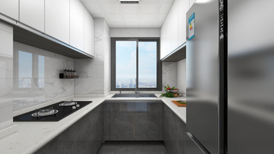 富裕型90平米三室两厅现代简约风格厨房图片大全