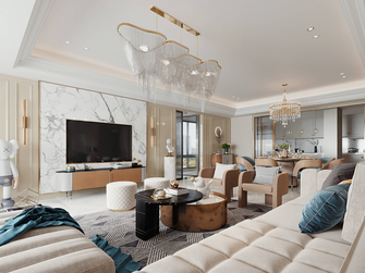 豪华型140平米复式混搭风格客厅图片