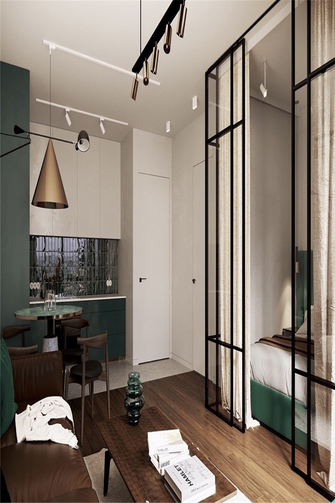 富裕型70平米一居室轻奢风格客厅设计图