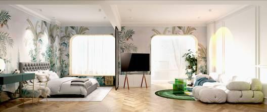 豪华型60平米一居室混搭风格卧室欣赏图