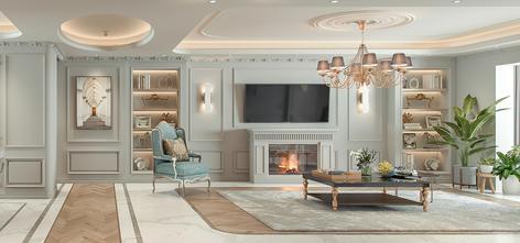 豪华型140平米三室两厅法式风格客厅装修图片大全
