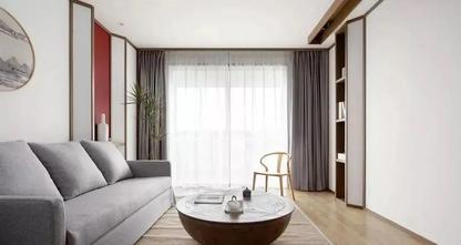 富裕型80平米中式风格客厅图