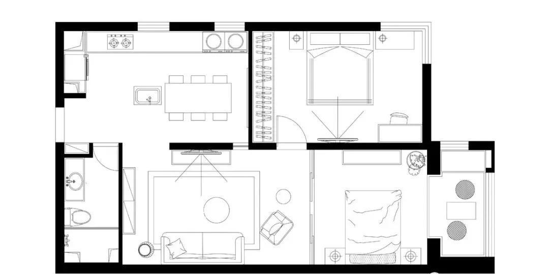 80㎡老暗小学区房改造,开放式设计实现完美转变