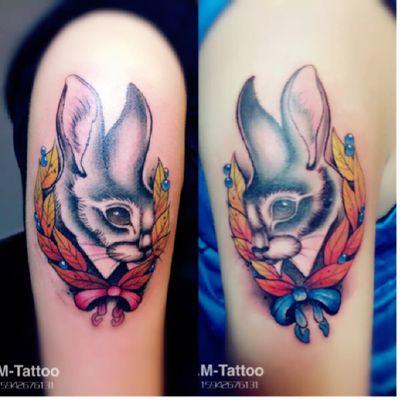 情侣兔纹身图