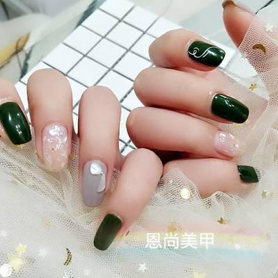 夏日翠绿美甲款式图