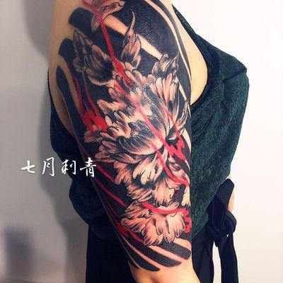 传统牡丹纹身图
