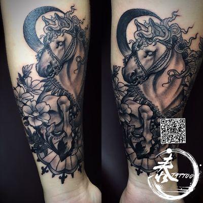 马-作品纹身图