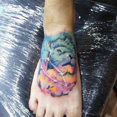 狮子座纹身图