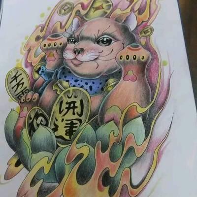 招财猫手稿纹身款式图