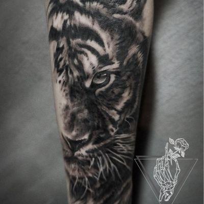 老虎细节纹身款式图