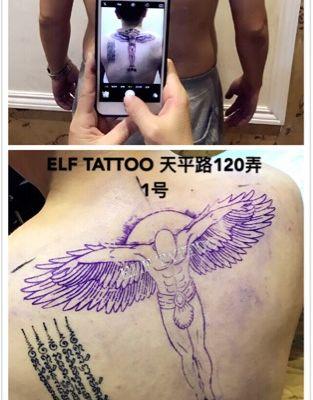 后背天使纹身图