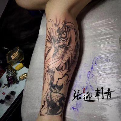 遮盖 鱼纹身图
