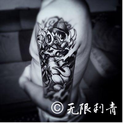 大臂象神纹身款式图