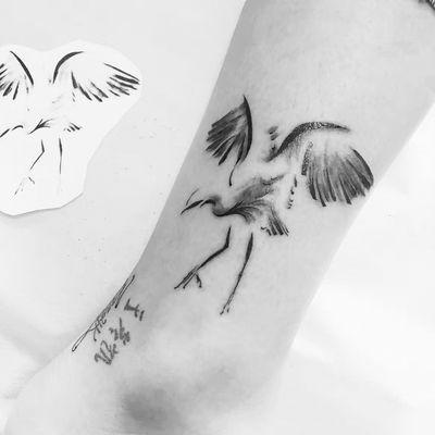 水墨小仙鹤纹身款式图