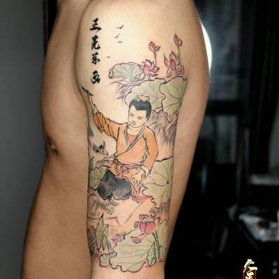 水墨国画风纹身款式图