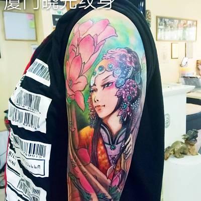 花旦小花臂纹身款式图