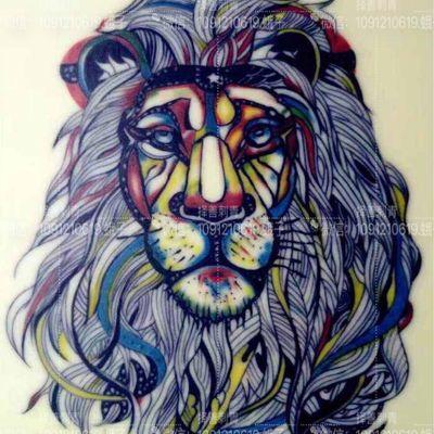 水彩狮子纹身图