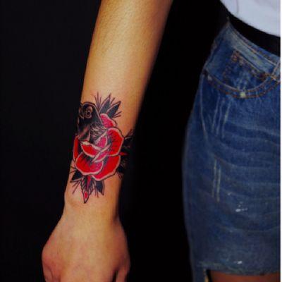 乌鸦玫瑰纹身款式图
