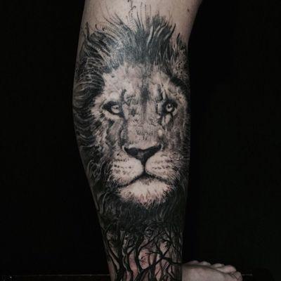 欧美狮子纹身图