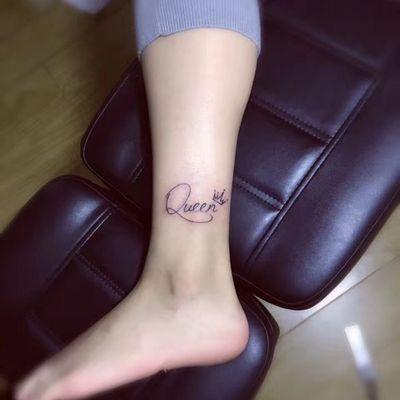 脚踝英文纹身图