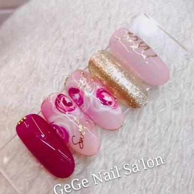 日系玫瑰美甲款式图