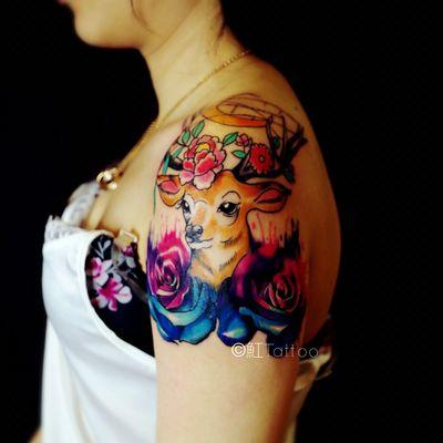 鹿-遮盖旧纹身款式图