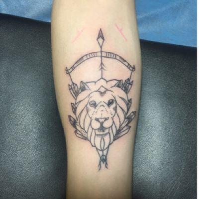 狮子头纹身图