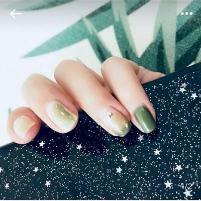 绿色夏日美甲图