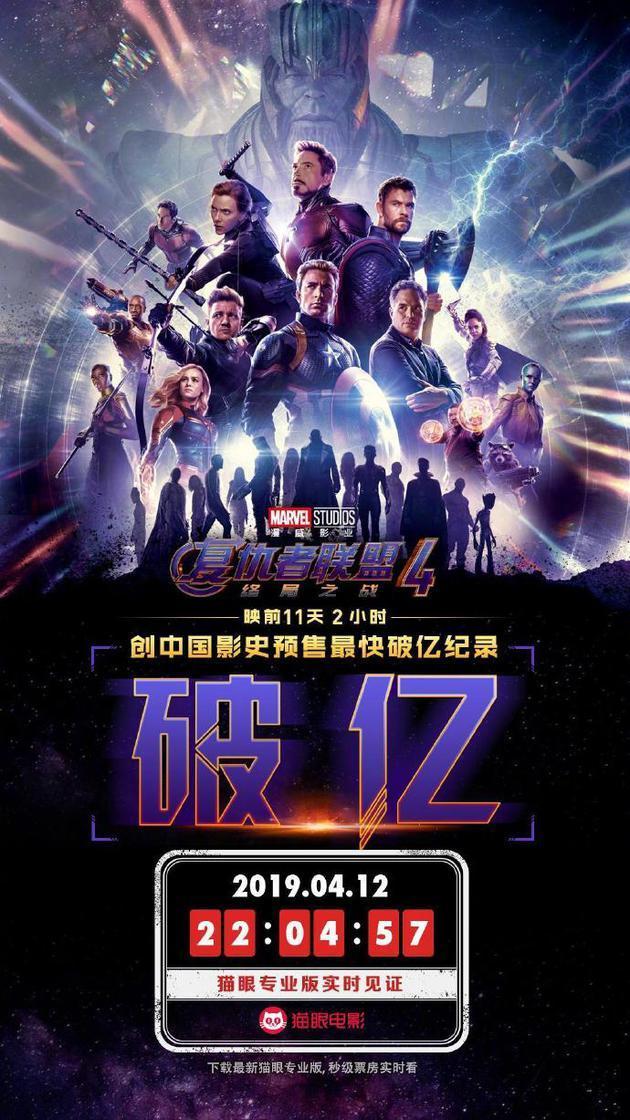 《复联4》10小时预售票房破1亿,刷新中国影史最快纪录  第4张