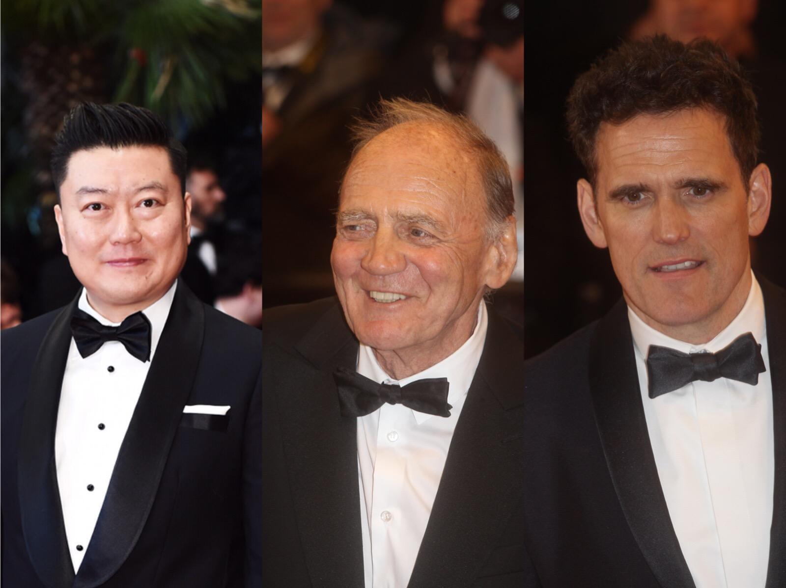 """《最近最远的你》制片人阎康(左)受""""聚焦中国""""和国际电影学院(ICI)的邀请,走上戛纳红毯,同受国际电影学院邀约而来的还有包括瑞士老牌男演员布鲁诺·甘茨(中)和好莱坞著名影星马特·狄龙(右)在内的一众国际影人。.png"""