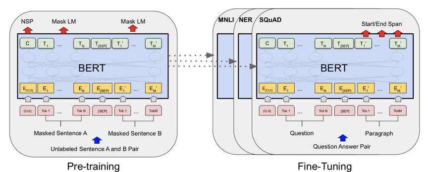 图3 BERT的结构和训练模式