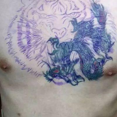 虎头遮盖原图纹身图