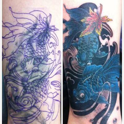 小金鱼遮盖纹身图