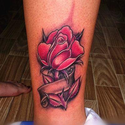 欧美玫瑰纹身款式图