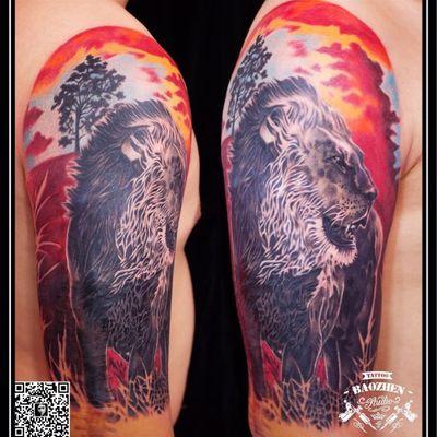 写实狮子纹身款式图