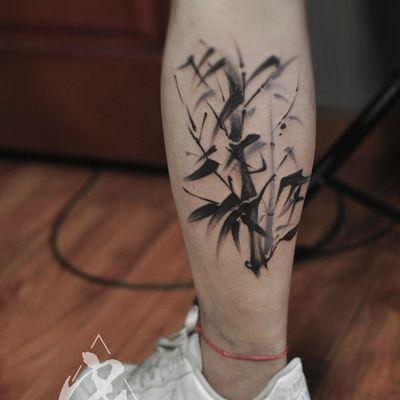 水墨竹子纹身款式图
