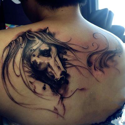 写意马纹身款式图
