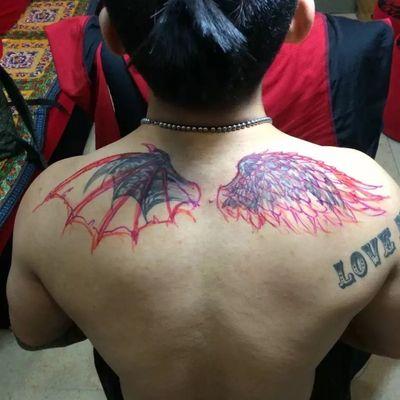 翅膀遮盖原图纹身款式图