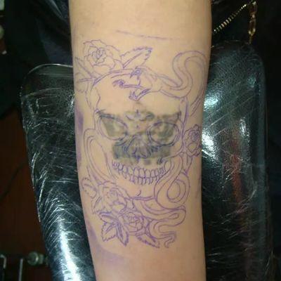 骷髅遮盖原图纹身图