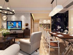 富裕型130平米三室兩廳美式風格客廳欣賞圖