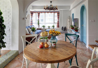 140平米复式地中海风格餐厅装修案例