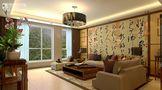 110平米三室两厅中式风格客厅壁纸装修图片大全