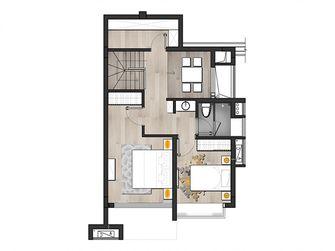 140平米复式日式风格楼梯间图
