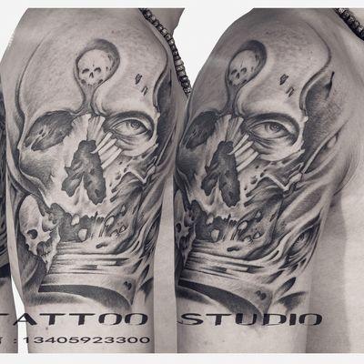 手臂骷髅纹身款式图