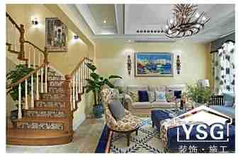 90平米三室两厅田园风格楼梯间图