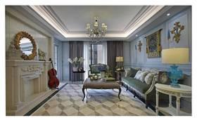 120平米三室兩廳法式風格客廳裝修效果圖