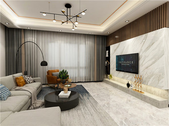 120平米三室三厅现代简约风格客厅设计图