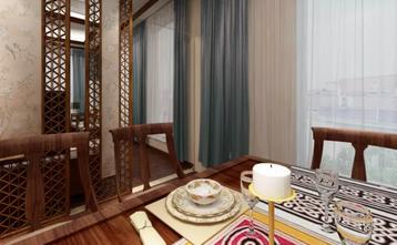 110平米一居室中式风格餐厅图